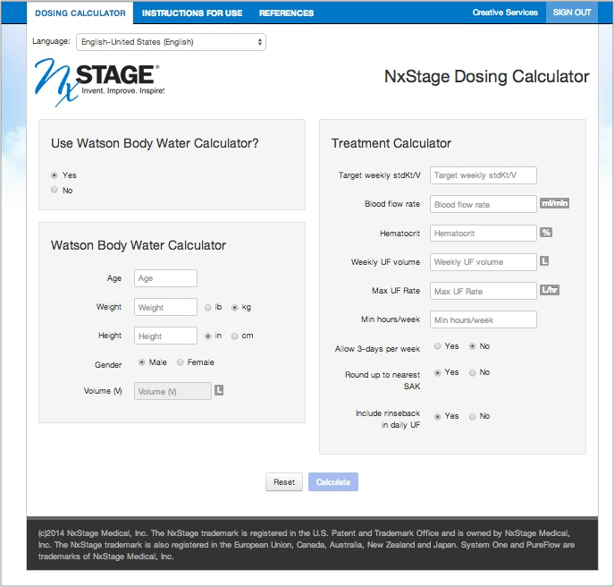 NxStage Dosing Calculator